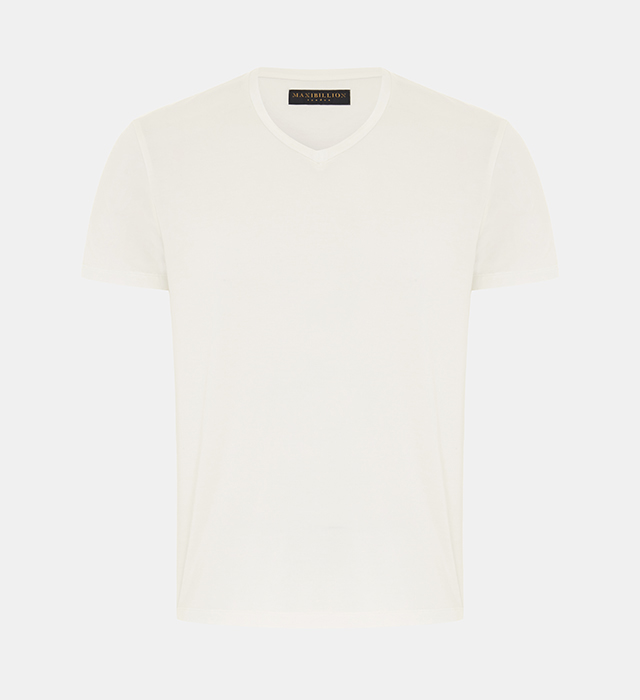 Maxibillion-Mens-V-neck-T-Shirt-Tony-Off-White-1